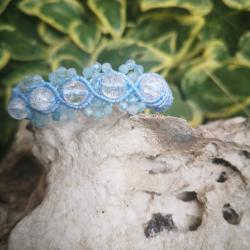 Acumarine and najaf stone macrame bracelet