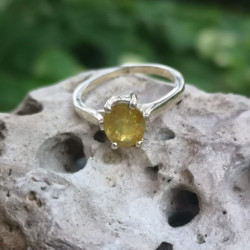 Silver yellow sapphire ring